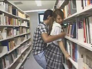 Shy Schoolgirl groped and used about a library