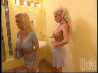 Hot Lesbian Action With Two Horny Blonde Babes In Restroom