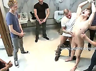 Gay innocent twink taught sex by pervert friends in public toilet g...