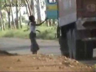 Suffocating cam blear footage of lorry drivers having lark with highway callgirls