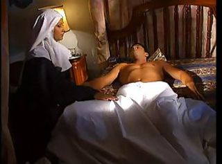 Lustful nun came to sleeping sinner to suck off his pounding dick!