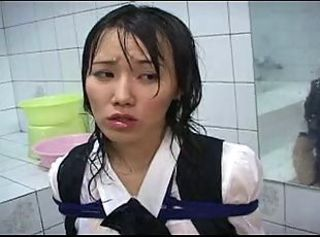 Nasty asian schoolgirl gagged cum bukkake