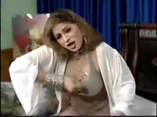 Busty Arab beauty plays with her big tits