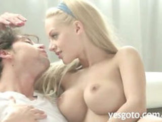 Sizzling blonde hot babe Loulou shaved pussy pounded sideways
