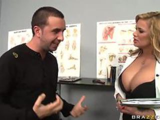 Tow-headed Doctor Shyla Stylez Uses Her Big Tits To Scratch an Itch