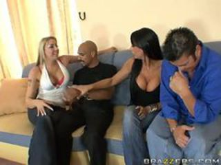Interracial FFMM Foursome prevalent Horny Sluts Delilah Strong with an increment of Hailey Star