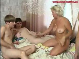 Russian Mature Regina and 3 Boys