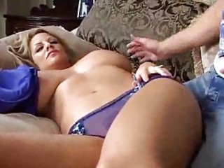 Curvy slut with great big tits takes younger cock