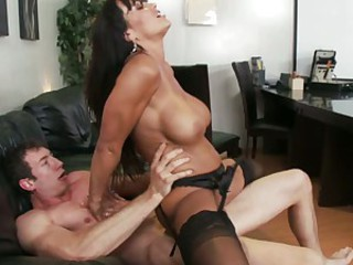 Hot MILF Lisa Ann takes a big cock and gets cum all over
