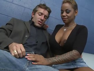 Amazing Big Tits Cute Ebony Interracial MILF Tattoo