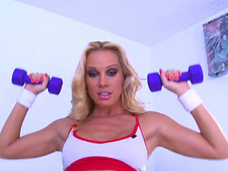 Sporty Blonde MILF Sandy Masturbates With Dildos and Anal Beads