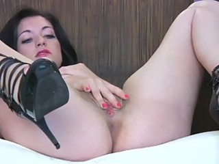 Brunette Amateur In High Heels Masturbating Her Shaved Beefy Pussy