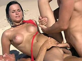 Gorgeous Brunette Renata Black Gets Double Penetrated On The Beach