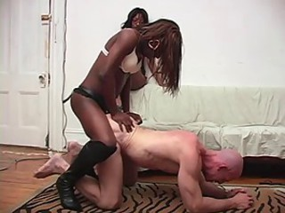 Hot ebony girls fuck a guy with strapon