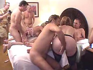 Wild orgy with three sluts and peck of guys