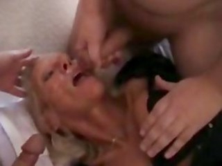 French maid mature double teamed