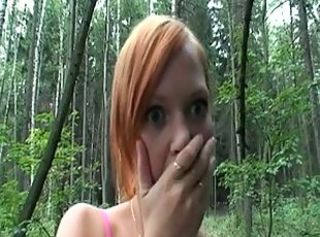 Old couple with a young redhead in the forest _: old+young redheads threesomes