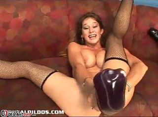 Slut plugging monster brutal dildo in her holes