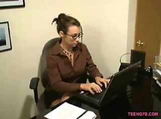You can call this cubicle blowjob, a little visit to his hot gf wearing sexy glasses and cheking her insane clevage at her office inspire him a nice way to empty his cum in her mouth, she love to drink his manhood so much