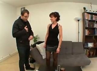 Amateur Brunette French MILF Skirt Stockings