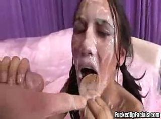 Pigtailed slut Fucked up Facial