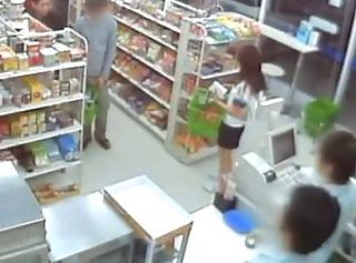 Horny Asian couple feel no shame fucking in public in a supermarket