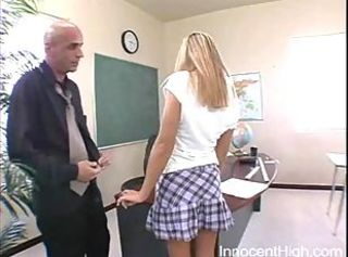Innocent blonde student gets her pussy eaten on the table