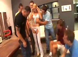 Blonde Throat, Pussy and Ass Brutally Gang..