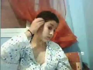 Cute Arab teen in pajamas masturbating