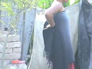 wow... awesome desi village beauty bathing extensively
