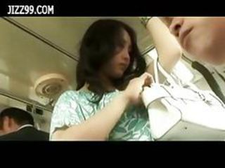 Cute milf fucked by geek in bus