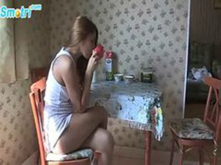Amateur Brunette Cute Kitchen Teen