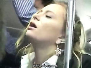 Cute Blond business woman fingered to orgasmus on disgorge Bus