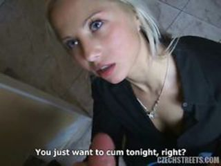 Spectacular Blonde Czech Teen Sucks Dick yon POV Vid