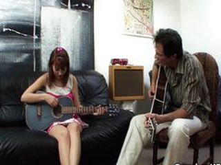 Horny music teacher takes young teen