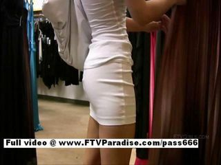 Superb Amateur cute teen babe plummy clothes and showing pussy in public store