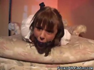 Gagged schoolgirl curves into his coitus slave