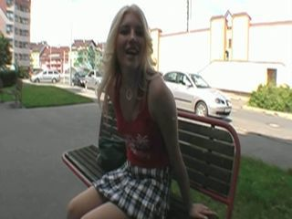 Sexy blonde chick fucked in public for some bucks and pleasure