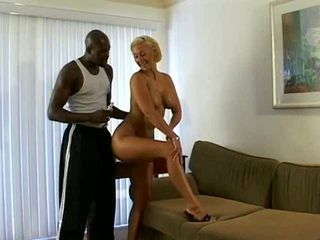 Blonde ride a big black cock...