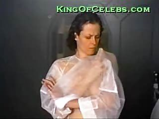 Sigourney Weaver shows her tits while adjusting her costume