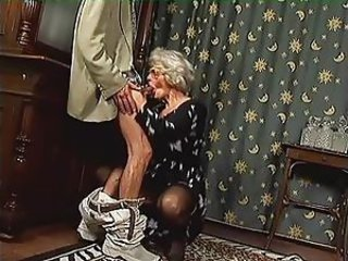 Grey Granny In Stockings Gets Cum On Her...
