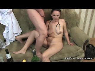Drunk slut sucks on his...