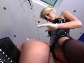 blond in latex fucks him