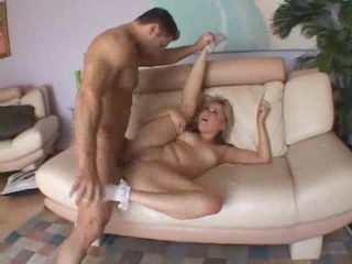 Big shaft fucks her shaved pussy
