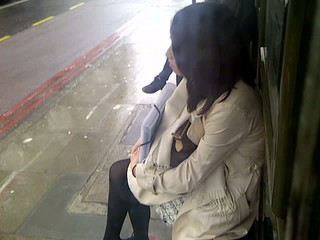wanking at bus stop