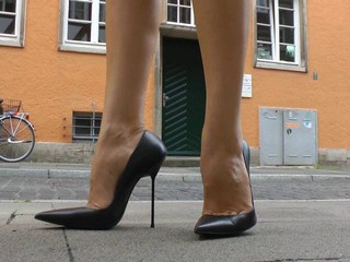 Walking n teasiing in high heels