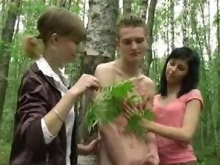 Two Russian teen girls a boy to...