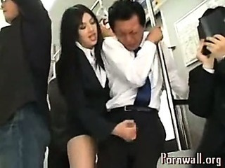Asian Schoolgirl Does Handjob To Stranger In  Public