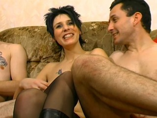 Brunette French MILF Stockings Tattoo Threesome
