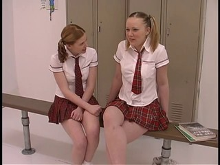 Two teen tarts in schoolgirl...
